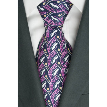 Tie Oliver Valentino Blue Fantasy Pink and White - 100% Pure Silk