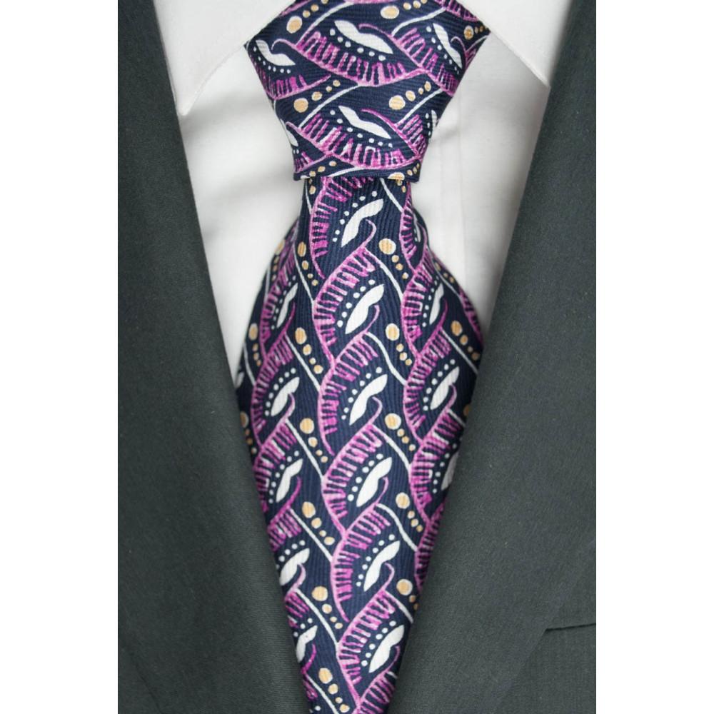 Cravatta Oliver Valentino Blu Fantasia Rosa e Bianco - 100% Pura Seta