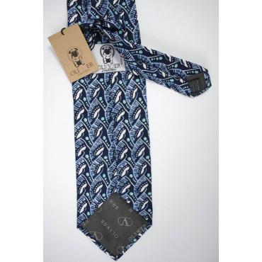 Cravatta Oliver Valentino Blu Fantasia Celeste e Bianco - 100% Pura Seta