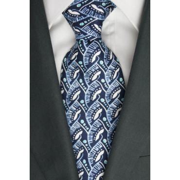 Tie Oliver Valentino Blue Fantasy blue and White - 100% Pure Silk