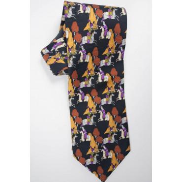 Cravatta Lancetti Fantasia Blu e Arancio - 100% Pura Seta