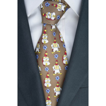 Tie Looney Tunes Rooster Brown - 100% Pure Silk