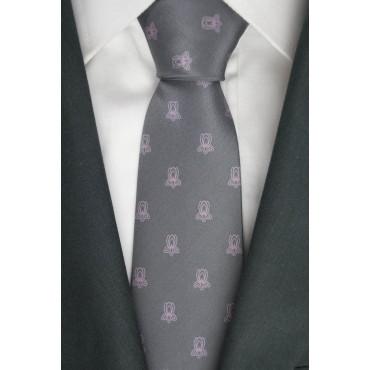 Cravatta Grigio Piccoli Disegni Rosa - 100% Pura Seta - Made in Italy