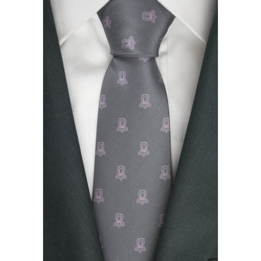 Tie Gray Small Pink graphics - 100% Pure Silk - Made in Italy