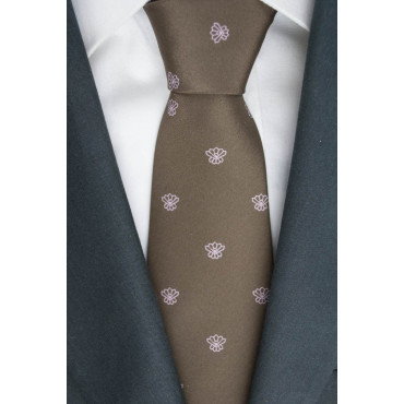 Brown tie with Small Designs Pink - 100% Pure Silk - Made in Italy