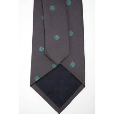 Cravatta Prugna Piccoli Disegni Turchese - 100% Pura Seta - Made in Italy