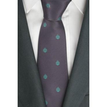 Krawatte, Pflaume, Kleine Zeichnungen, Türkis - 100% Reine Seide - Made in Italy