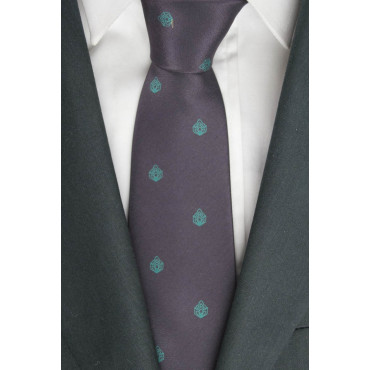 Tie Plum Small Designs Turquoise - 100% Pure Silk - Made in Italy