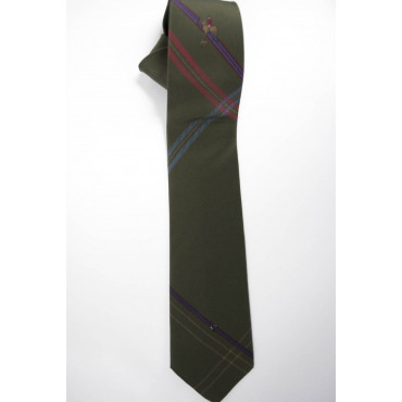 Tie Dark Green Rider with a Dog - 100% Pure Silk - Made in Italy