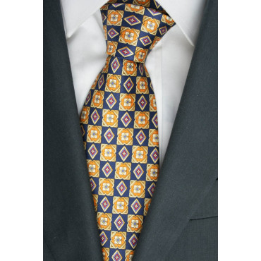 Tie Black Paintings Drawings Yellow and Orange - 100% Pure Silk