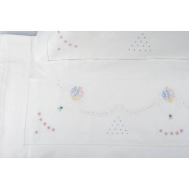 Lenzuola Matrimoniali Ricamo a Mano Fiorellini - Madeira 004 - Percalle di Cotone