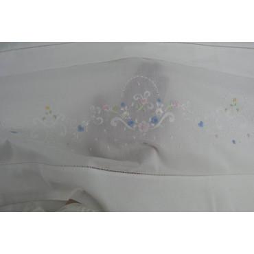 Lenzuola Matrimoniali Ricamo a Mano Fiorellini Madeira 006 - Percalle di Cotone