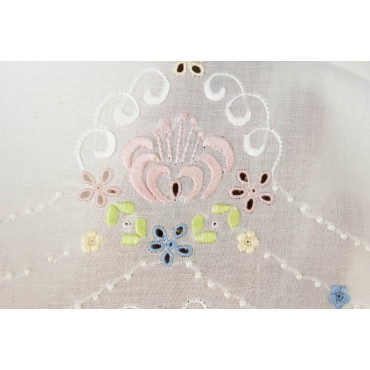 Lenzuola Matrimoniali Ricamo a Mano Fiorellini Madeira 008 - Percalle di Cotone