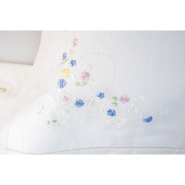 Lenzuola Matrimoniali Ricamo a Mano Fiorellini Madeira 018 - Percalle di Cotone