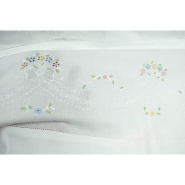 Lenzuola Matrimoniali Ricamo a Mano Fiorellini Madeira 022 - Percalle di Cotone