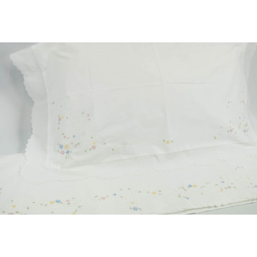 Lenzuola Matrimoniali Ricamo a Mano Fiorellini Madeira 023 - Percalle di Cotone