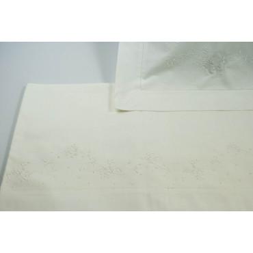 Lenzuola Una Piazza e Mezza Francese  230x290  Ricamo a Mano Fiorellini Madeira 024 -Percalle di Cotone