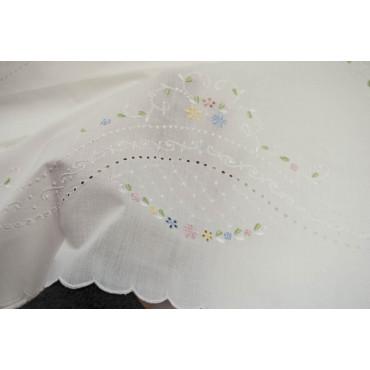 Lenzuola Matrimoniali Ricamo a Mano Fiorellini Madeira 027 - Percalle di Cotone