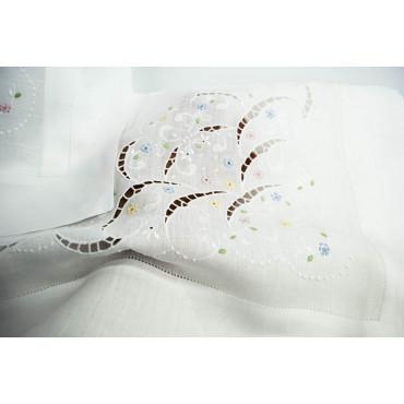 Lenzuola Puro Lino Matrimoniale Ricamo a Mano Intaglio 035 - 250x290