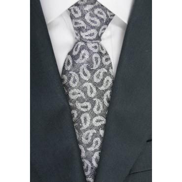 Cravatta Grigio Disegni Cachemire - GianMarco Venturi - 100% Pura Seta