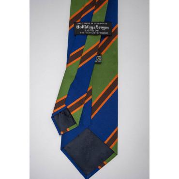 Regimental Tie Green Blue Orange - 100% Pure Silk