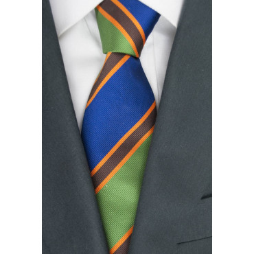 Regimental Tie Green Blue Orange - 100% Pure Silk