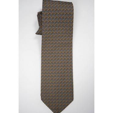 Cravatta Marrone Piccoli Disegni Beige Azzurro - 100% Pura Seta