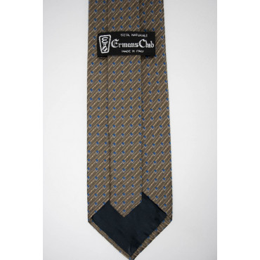 Brown Tie With Small Designs Beige Blue - 100% Pure Silk