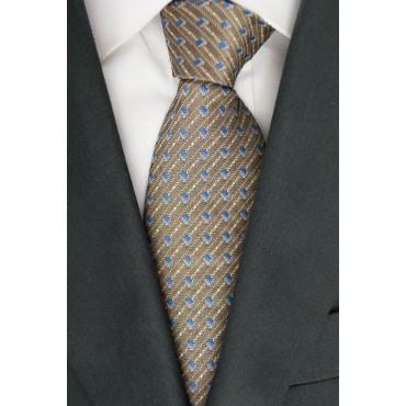 Brown Corbata Con Diseños Pequeños De Color Beige - Azul De 100% Pura Seda