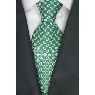 Grüne Krawatte Mit Kleinen Zeichnungen Weiss - 100% Reine Seide