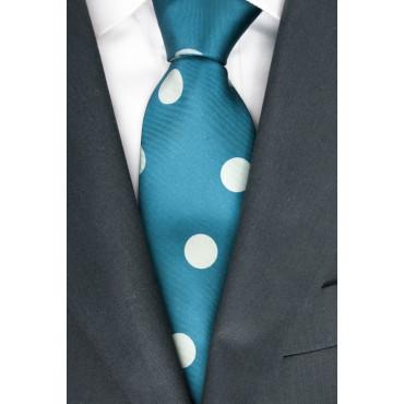 Green Tie Large Polka Dot Ivory Sanssouci - 100% Pure Silk