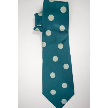 Cravatta Verde Grandi Pois Avorio SanSouci - 100% Pura Seta
