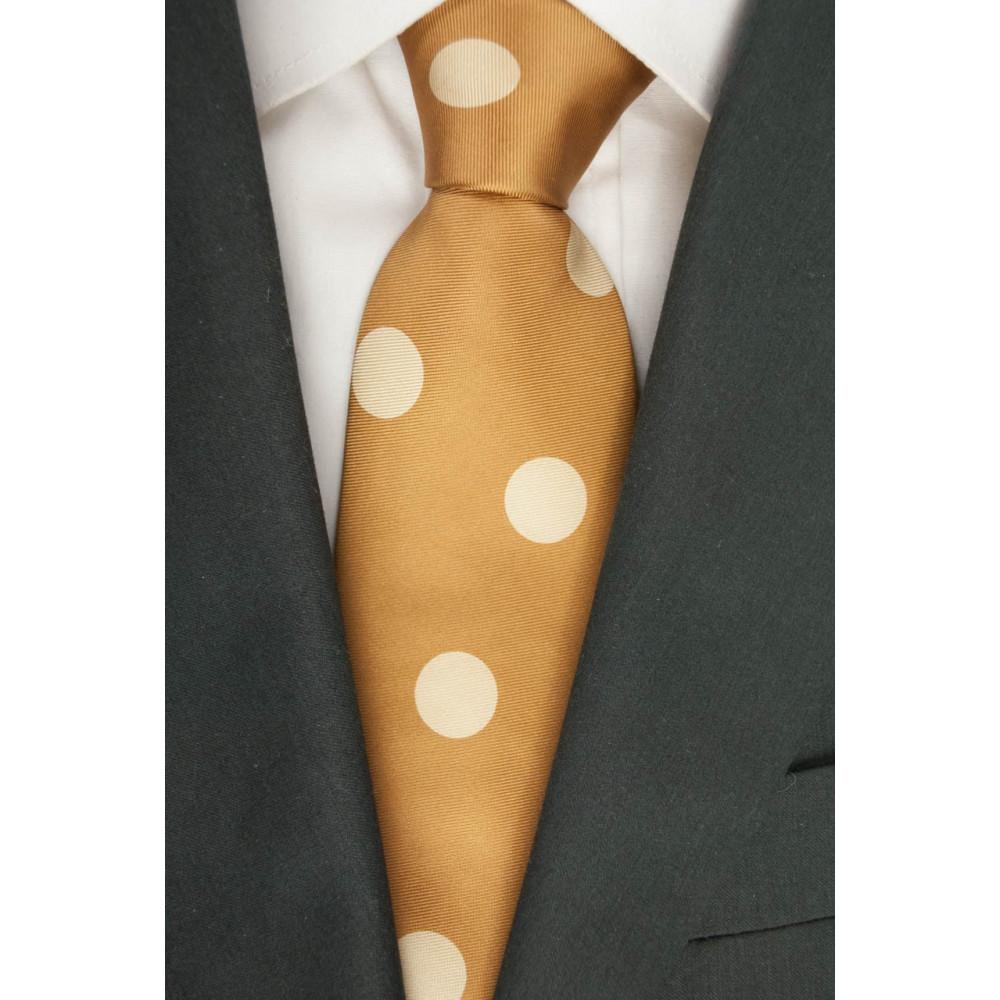 Cravatta Arancio Zucca Grandi Pois Avorio SanSouci - 100% Pura Seta
