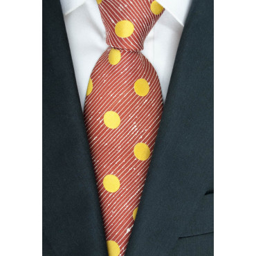 Tie Red Large Polka Dots Yellow Sanssouci - 100% Pure Silk