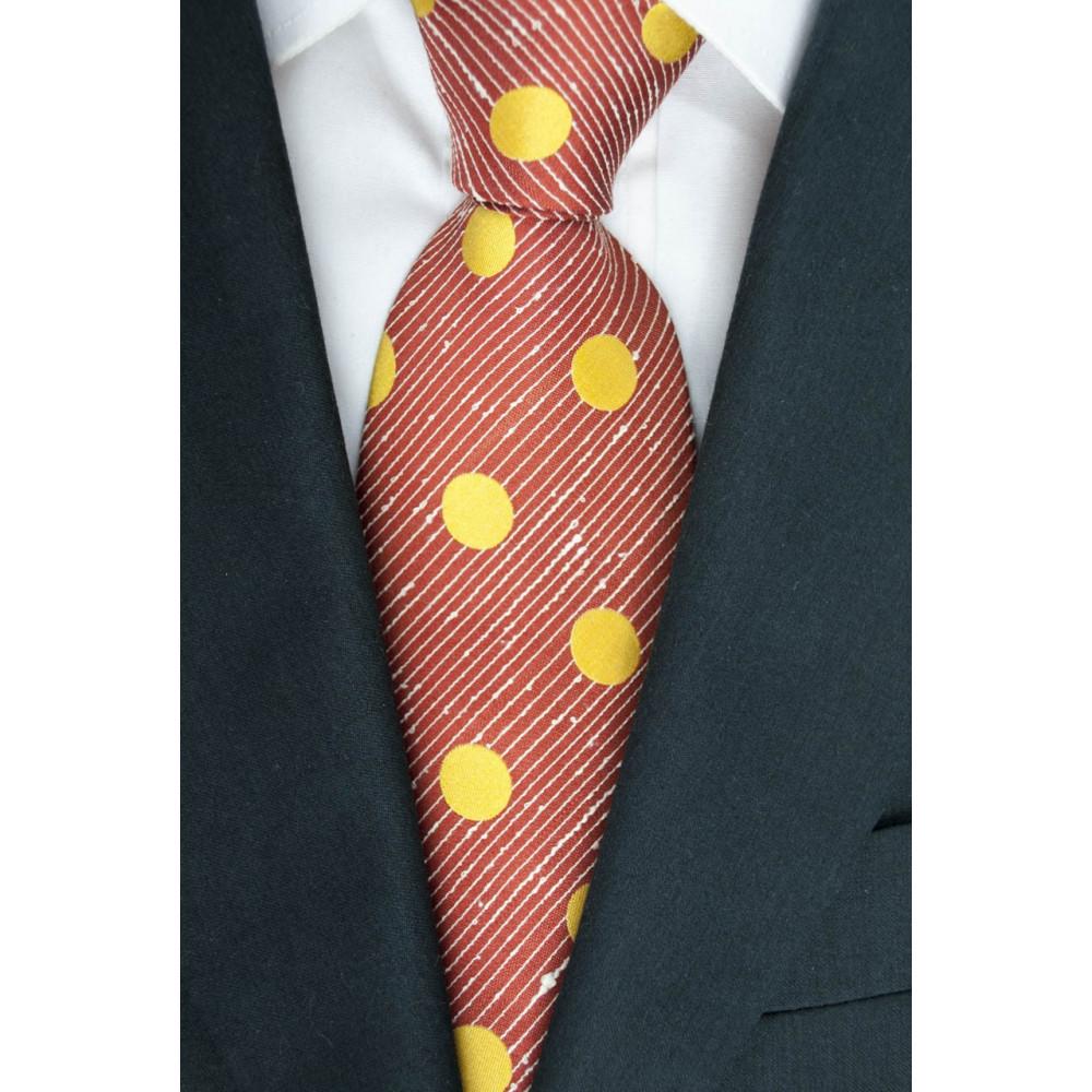 Cravatta Rosso Grandi Pois Giallo SanSouci - 100% Pura Seta