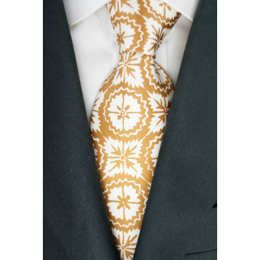 Tie Rust Orange Fantasy Design - 100% Pure Silk