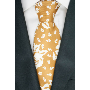 Tie Rust Orange Design Rose Ivory - 100% Pure Silk