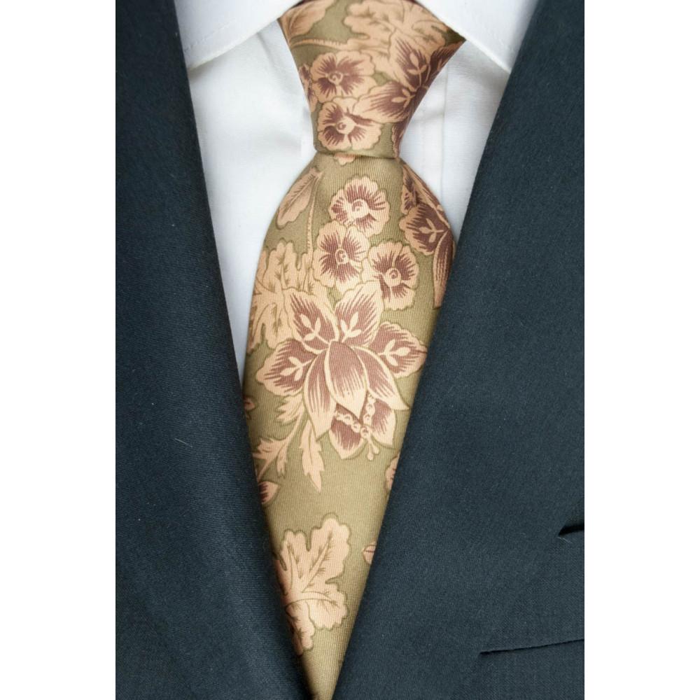 Cravatta Verde Disegno Floreale Salmone - 100% Pura Seta