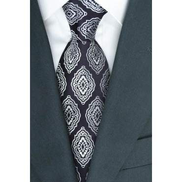 Tie Dark Brown Design Arabesque - 100% Pure Silk