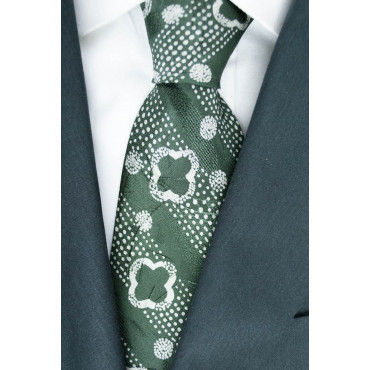 Green Tie With Small Designs White - 100% Pure Silk