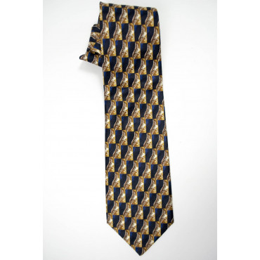 Cravatta Blu Disegni in Beige - Daniel Hechter - 100% Pura Seta