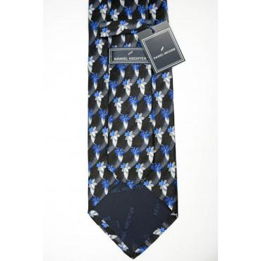 Cravatta Nero Disegni in Bluette e Grigio - Daniel Hechter - 100% Pura Seta