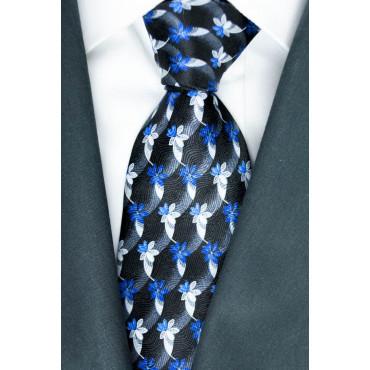 Corbata color Negro con Diseños en Azul y Gris - Daniel Hechter - 100% Pura Seda