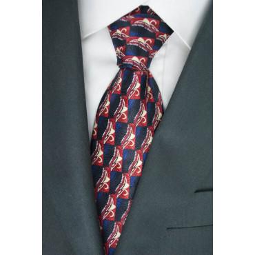 Cravatta Nero Disegni in Rosso e Avorio - Daniel Hechter - 100% Pura Seta