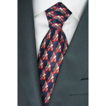Tie Black with Designs in Red and Ivory - Daniel Hechter - 100% Pure Silk
