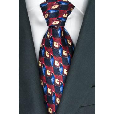 Corbata azul con Diseños en Rojo y Marfil - Daniel Hechter - 100% Pura Seda