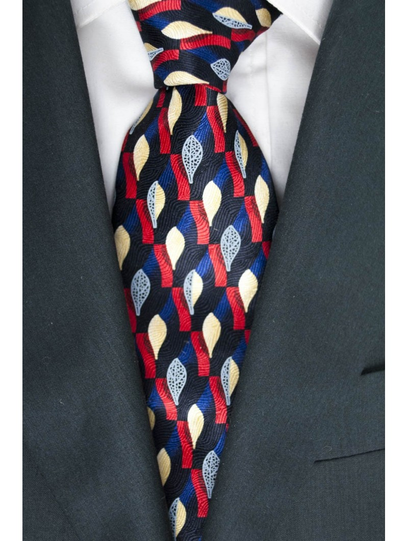Blue tie with Designs in Red, Ivory-Gray - Daniel Hechter - 100% Pure Silk