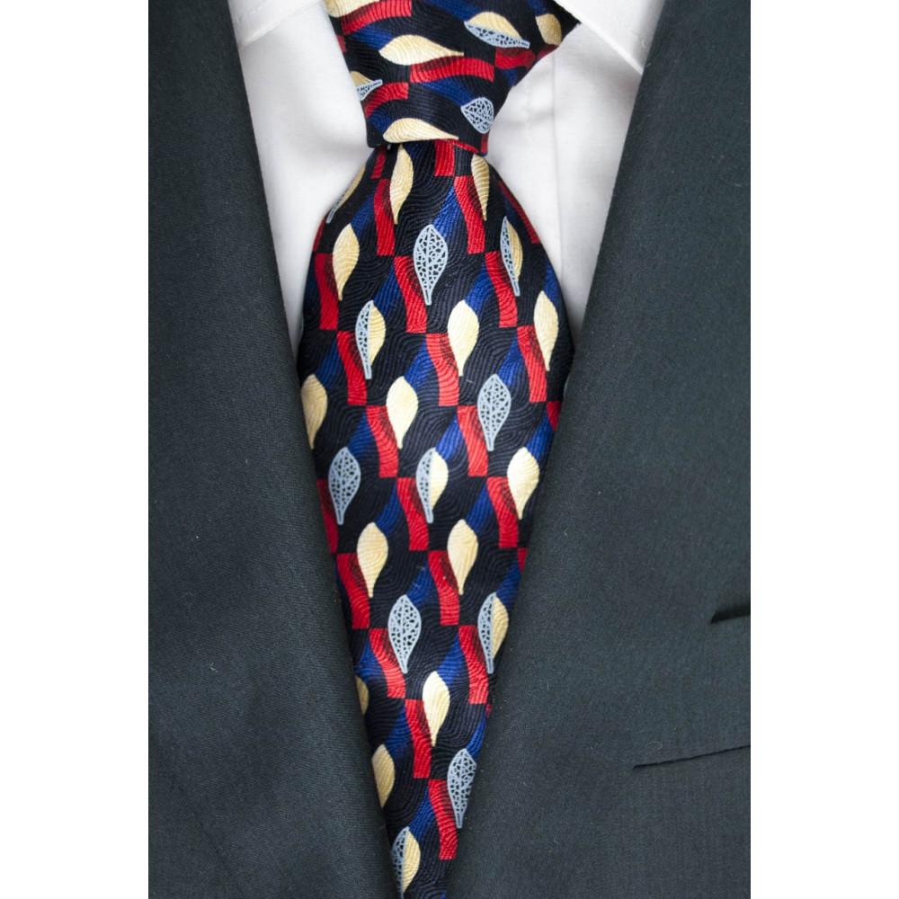 Cravatta Blu Disegni in Rosso Avorio Grigio - Daniel Hechter - 100% Pura Seta