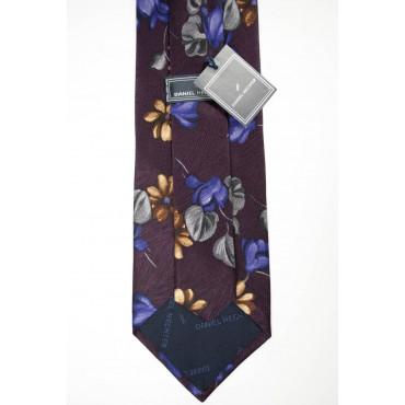 Tie Burgundy Floral Purple and Beige - Daniel Hechter - 100% Pure Silk