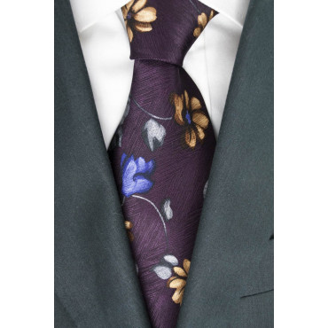 Tie Burgundy Floral Purple and Beige - Daniel Hechter - 100% Pure Silk